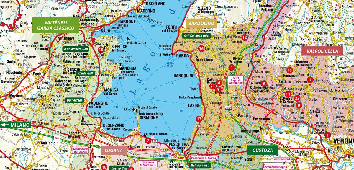 karte rund um den gardasee Weinregionen am und um dem Gardasee   Gardasee